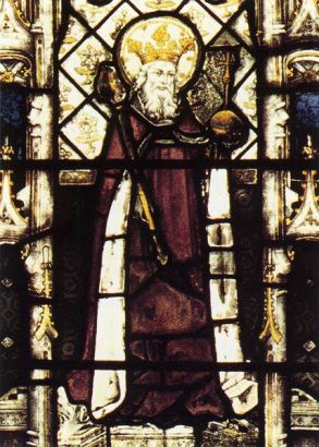 King AEthelbert of Kent, husband of Bertha. Stained glass at All Souls College Chapel, Oxford