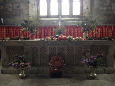 Harvest Sunday, Sept. 2014 in Iona Abbey. Residents gathered fruits and vegetables along with flowers from their gardens to bring for this special day to honor God as Creator.