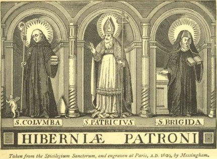 Columba, Patrick, and Brigid, the three patron saints of Ireland