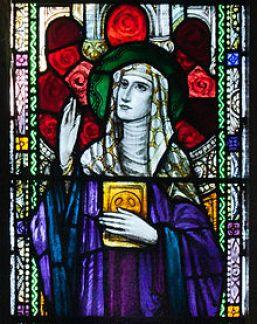 Stained Glass of St. Ita in St. Kieran's Church, Bally lobby