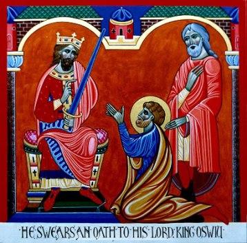 King Oswiu (Oswy) with Benedict Biscop of Jarrow Abbey