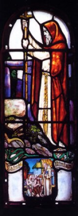 This stained glass window of Ninian in the Whithorn Story Exhibition by Richard LeClerk is a copy of a Douglas Strachan window in St Margaret's Chapel, Edinburgh Castle.