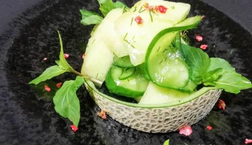 駈の精進料理~メロンと胡瓜のサラダ~