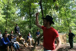 Jack Bianchi, second-year China Studies M.A. student, explains how Colonel Joshua Chamberlain ordered the men of the 20th Maine Regiment to fix bayonets before a courageous charge against Confederate Troops at Little Round Top. (Jameel Khan)