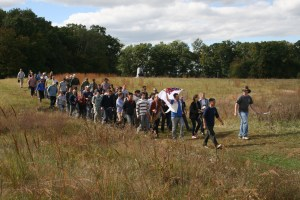 SAIS professors, distinguished visitors, and students march in formation to experience Pickett's Charge. (Jameel Khan)