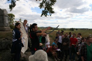 SAIS Bologna and second-year Strategic Studies student Brian Ku explains how Brigadier General Lewis Armistead led his Confederate troops during Pickett's Charge. (Jameel Khan)