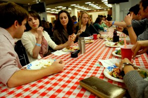 SAIS students try a variety of international food in the Kenney auditorium. (SARAH RASHID)
