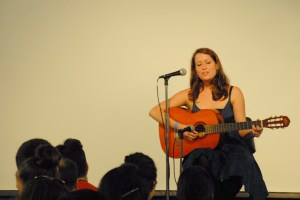 "Second-year student Constance Wilhelm performs the Algerian-French song ""Aïcha."" (SARAH RASHID)"