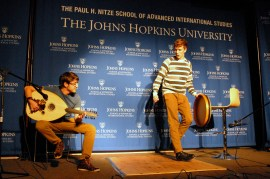 Kieran Coleman performs the Irish jig, with music by Ahmet Cinar. (Sarah Rashid)