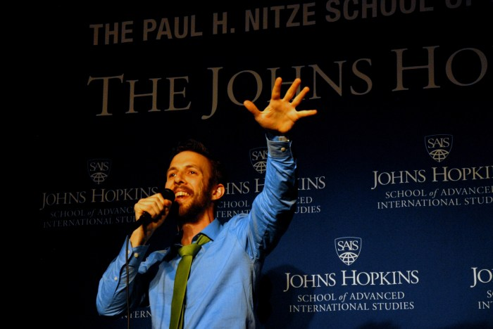 Joe Geni sings during the talent portion of the pageant. (Sarah Rashid)