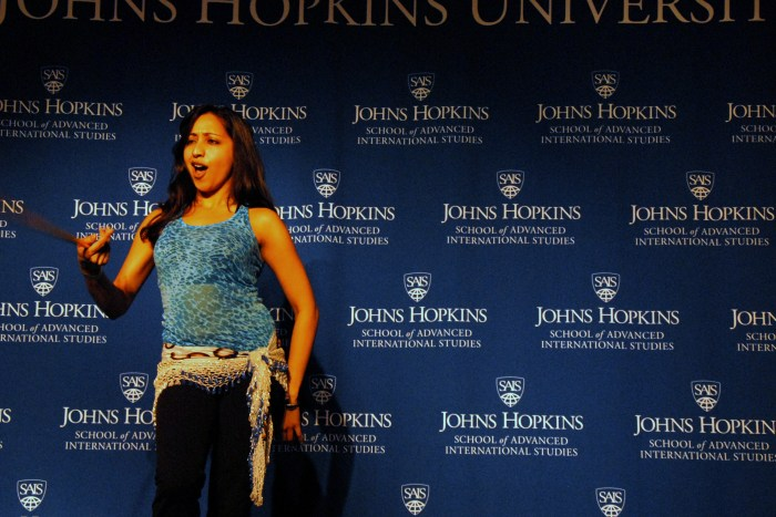 Seethal Kumar performs an Indian and hip hop inspired dance during the talent portion of the pageant. (Sarah Rashid)