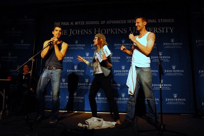 Rob Tenorio raps about SAIS during the talent portion of the pageant. (Sarah Rashid)