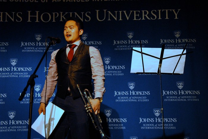 Gian Gozum plays the trumpet and sings during the talent portion of the pageant. (Sarah Rashid)