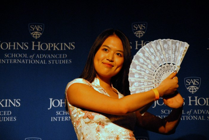 Jing Jing Zhou dances during the talent portion of the pageant. (Sarah Rashid)