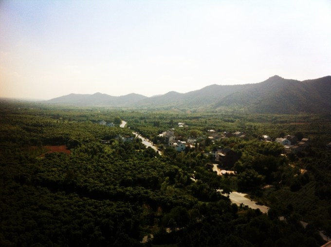 View of the sleepy town in the valley from the Pagoda.
