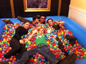 Clockwise from bottom - Chase, keyboardist, drummer, and Lev hanging out after the show (Photo: Chase Stewart)