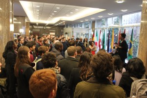 Students, faculty, and staff gather in the Nitze lobby on Dec. 2 to hear SAIS students Cory Bullock and Amanda Roach speak about rising racial tensions in the United States. (Photos by Zirra Banu)