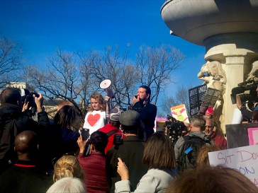 "Activist Gray Michael Parsons spoke to the crowd defending Native American rights. ""We have a small voice… we need you to care for us, we need you to hurt for us"", he says as the crowd responds, ""we stand with you."" (Photo Credit: Fatima Nanavati)"