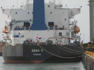 The Zena C offloading wheat at the Grain Elevator