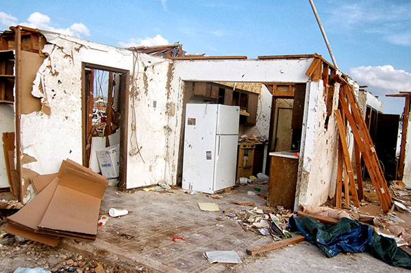 The tornado ripped the roof and walls off this house