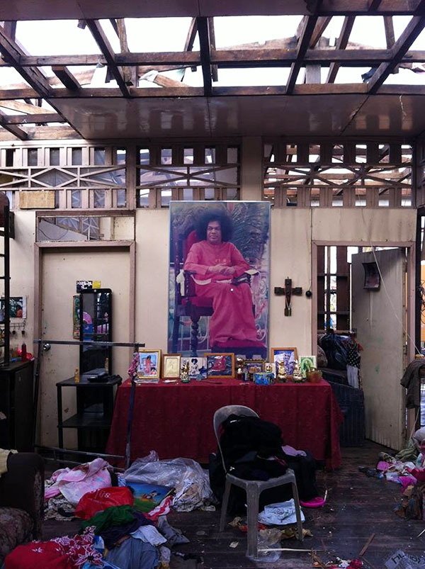 Swami's altar untouched by the typhoon