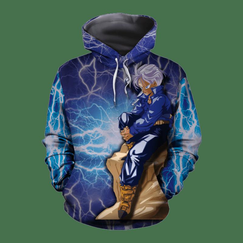Dragon Ball Z The Legendary Trunks On A Rock Blue Hoodie