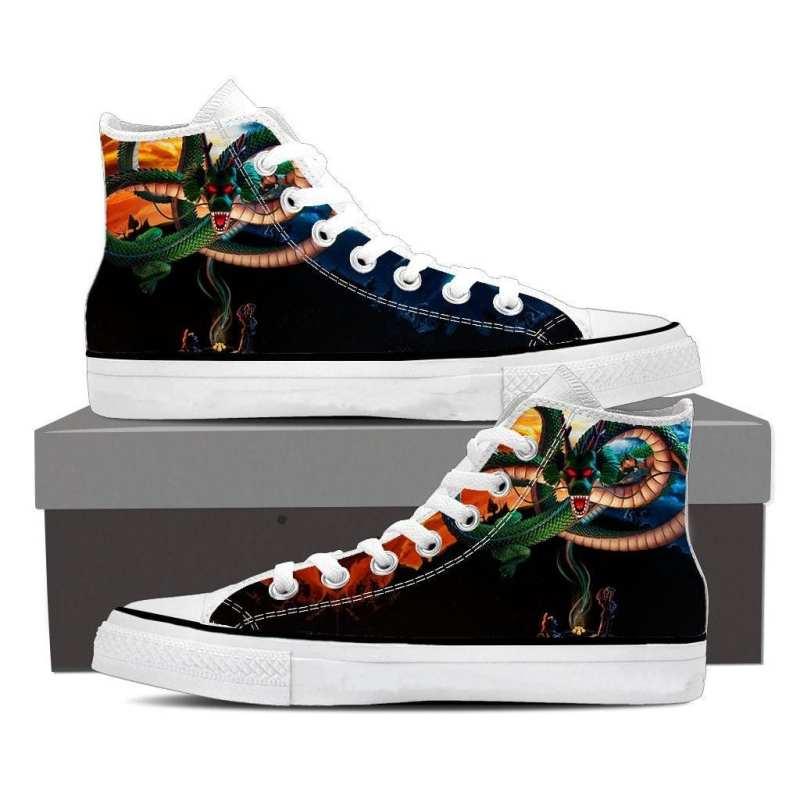 DBZ Kid Goku Bulma Shenron Flying Cool Black Sneaker Shoes