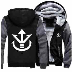 Dragon Ball Vegeta Saiyan Royal Crest Gray Black Zipper Hooded Jacket - Saiyan Stuff