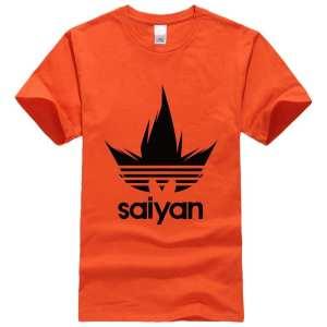 Dragon Ball Z Black Saiyan Adidas Parody Print Orange Shirt