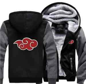 Naruto Akatsuki Red Clouds Symbol Of Justice Gray Black Hooded Jacket