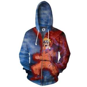 Naruto And Sasuke Battle Style Full Print Zip Up Hoodie