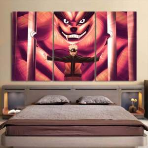 Naruto Uzumaki And Sealed Kyuubi Kurama Pink 3pcs Wall Art
