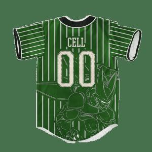 Dragon Ball Z Cell Stencil Art Green Baseball Jersey