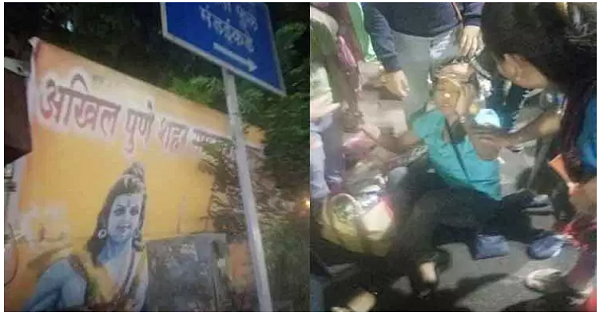 ram navmi events-mandai hoarding collapse woman injury