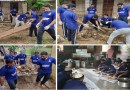 Muslim community clean the mud-filled temple