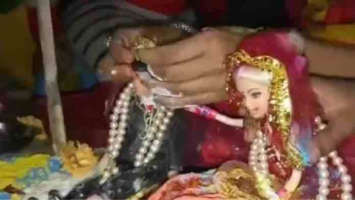 The people of Dhupguri witnessed such a marriage of a doll with doll according to Hindu custom