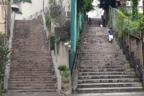千代田区の女坂(左)男坂(右)