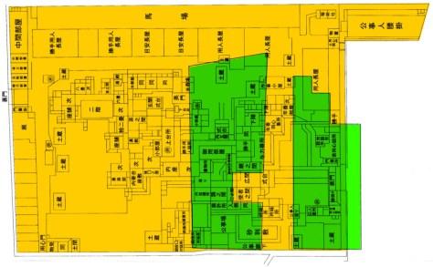有楽町二丁目遺跡の発掘エリアと南町奉行の間取り図