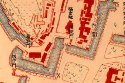 古地図:大正5-10年(1917-21年)陸地測量部2万5千分の1地形図より枢密院と内閣。