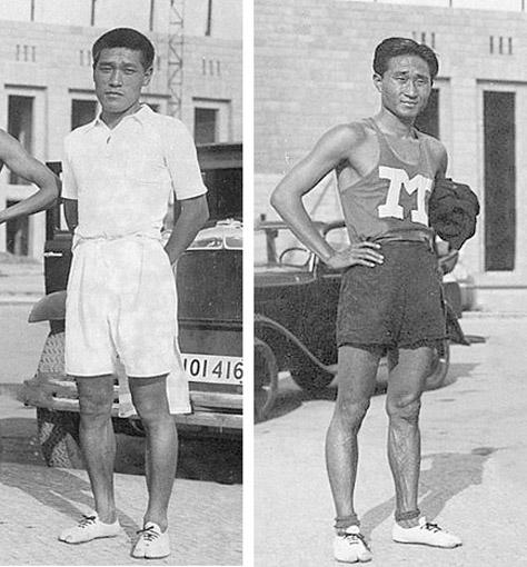 金栗足袋を履く孫・南選手