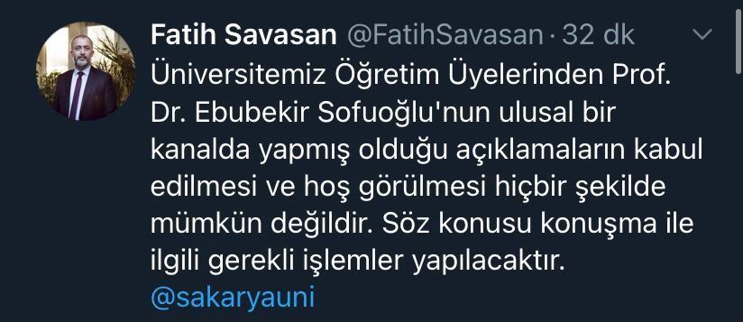 Ebubekir Sofuoğlu'nun açıklamaları hakkında işlem başlatılıyor