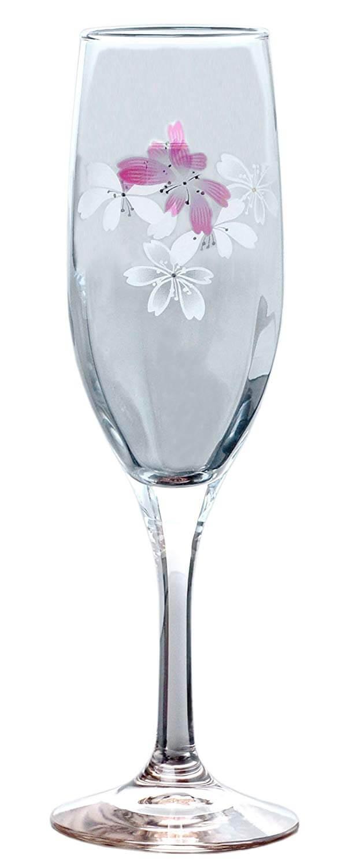 東洋佐々木ガラス シャンパングラス 桜柄 フルート ピンク 175ml SQ-02254PK サクラ