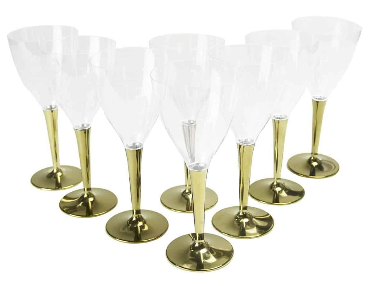 mozaik(モザイク) ワイングラス ゴールドステム ゴールド 7×16.5cm 華やかな 演出に MZGL8GO 8個入