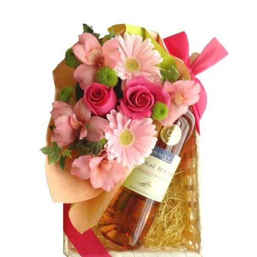 南仏ロゼワインとフラワーアレンジメントのプレゼントセット