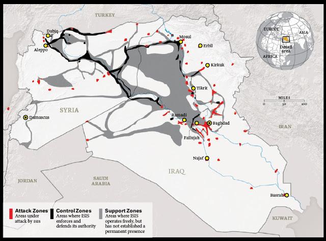 Mappe recenti del territorio controllato dall'ISIS mostrano evidenti linee di rifornimento che arrivano dalla Giordania e dalla Turchia. Se la Siria e i suoi alleati riuscissero a tagliare queste linee logistiche ci si potrebbe chiedere quanto potrebbe durare questa inspiegabile sequenza di successi dell'ISIS.