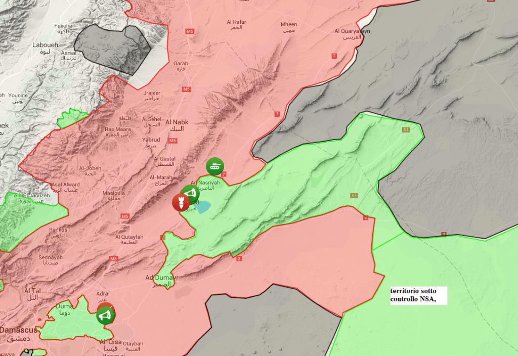 Qalomoun, territorio sotto controllo NSA 2-7-2016, principalmente deserto disabitato