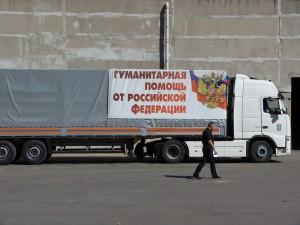 """I convogli umanitari russi: """"Voglio ricordare la grande operazione umanitaria di sostegno da parte della Russia alle due Repubbliche, soprattutto nei momenti più intensi della guerra"""" Foto Eliseo Bertolasi"""