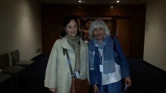 Антонина Гаврильева с Эльзой Стаматопулу - юристом, профессором Колумбийского университета. С 2003 по 2010 год она руководила секретариатом Постоянного Форума.