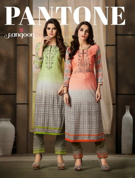 Rangoon Pantone Rayon Kurtis with pants Kurtis manufacturer