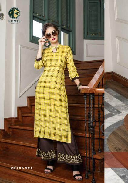 femi9 Opera Kurtis with palazzo pair wholesaler